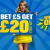 Coral – Bet £5 Get £20 Free