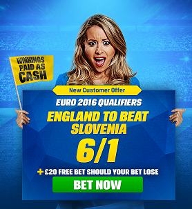 Coral Betting Offer 6/1 on England to beat Slovenia