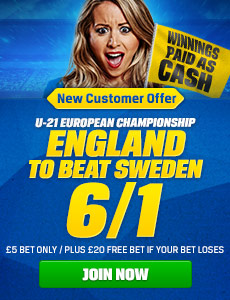 Coral Betting Offer 6/1 on England U21 to beat Sweden U21