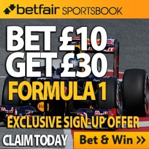 Betfair Betting Offer – Lost stake refunds if F1 driver fails to finish