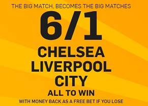 Treble boost on Man City, Chelsea and Liverpool EPL wins