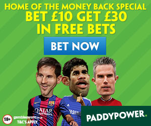 Paddy Power – Bet £10 Get £30 Free