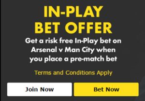 Get a risk free in-play bet for Arsenal v Barcelona!