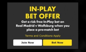 Bet365 back with Real Madrid v Wolfsburg risk free in-play bet offer