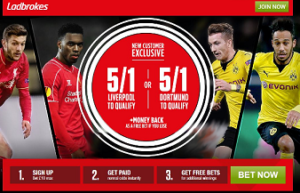 Ladbrokes 5/1 odds on either Liverpool or Dortmund to qualify