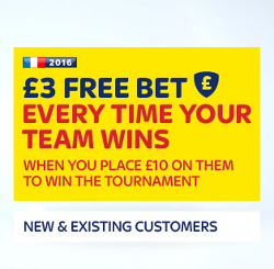 Free bet every time your Euro 2016 team wins!