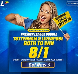 8/1 price boost on Spurs and Liverpool EPL double