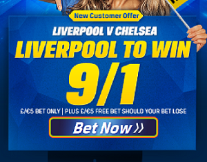 Coral 9/1 odds on Liverpool to beat Chelsea