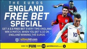 William Hill £5 free bet for every England win at Euro 2016