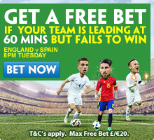 Paddy Power 60 minute insurance on England & Ireland games