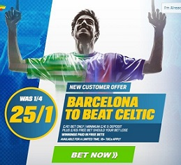 Barcelona 25/1 at Coral to beat Celtic