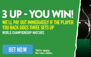 Paddy Power 3 Up You Win Premier League Darts Betting Offer