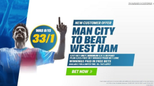 Coral go 33/1 on Man City to beat West Ham
